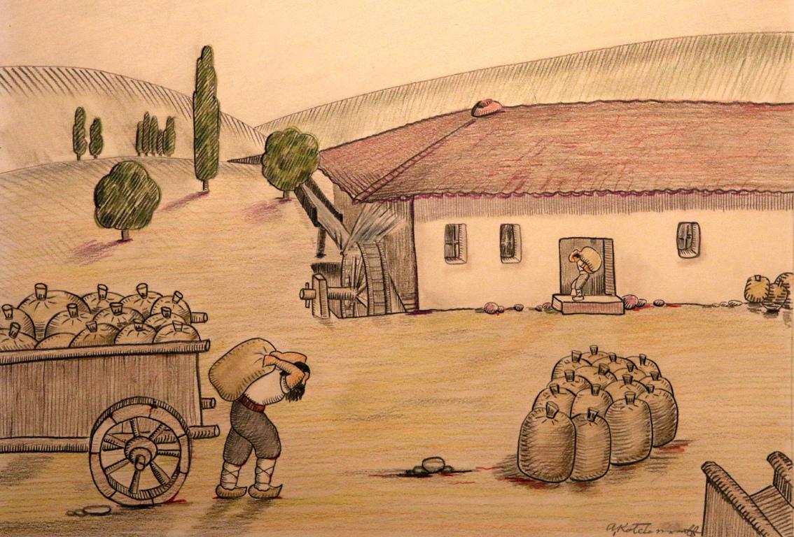 <p>Чувалите със златното зърно се откарват на селската воденица.</p>  <p>Мелодията на водата върху водното колело пробужда песента на брашното.</p>