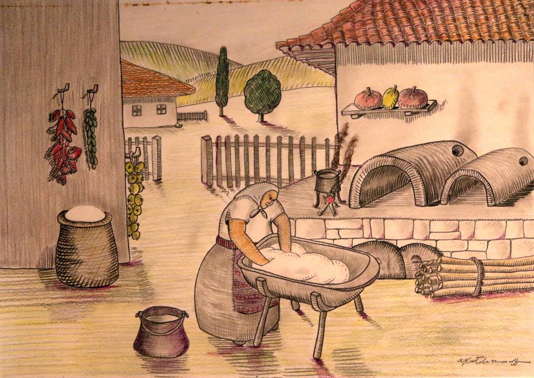 <p>Жената, която пече хляб знае, че Майката Земя е дала своя най-ценен дар на хората.</p>  <p>Тя с целувка благославя брашното и омесва тестото в копанята.</p>  <p>Първата фурна трябва да даде добър хляб, който е за раздаване.</p>