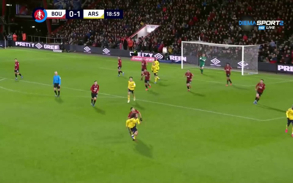 Отборът на Арсенал успя да победи Борнемут с 2:1 в