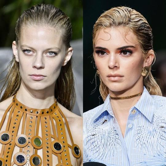 <p><strong>Мокър ефект</strong></p>  <p>Мокрият ефект в косите е обичаен тренд за топлия моден сезон. Различното през пролет/лято 2020 е заглаждането назад, което придава момчешко излъчване.</p>