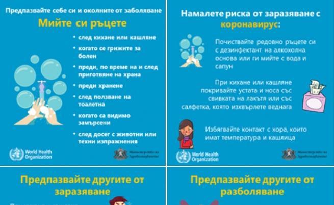 МЗ препоръчва мерки, за да намалим риска от заразяване с коронавирус