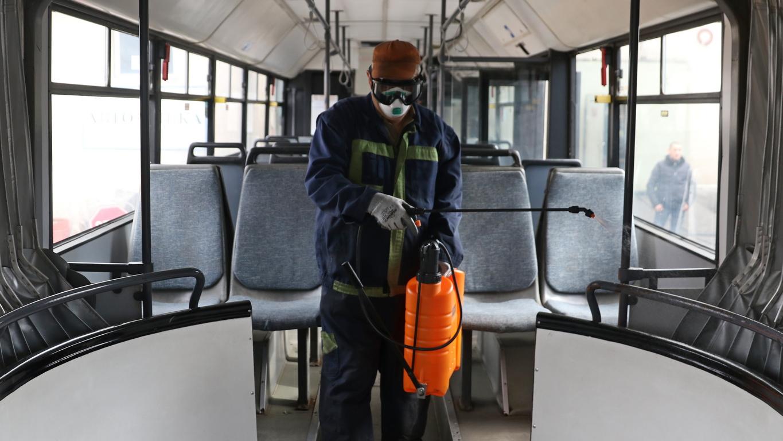 <p>Дезинфекция на градския транспорт в София, гараж Малашевци</p>