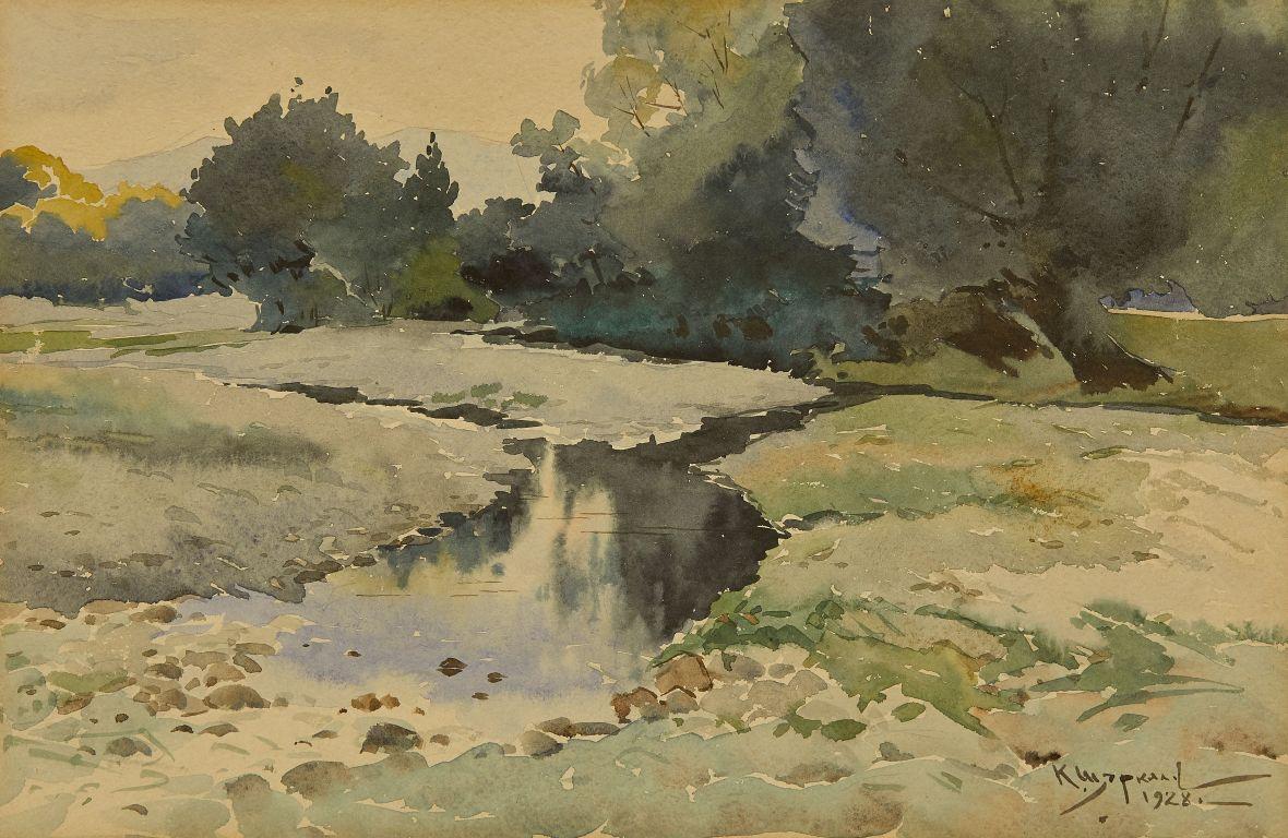 <p>Константин Щъркелов (1889&ndash;1961) Пейзаж &ndash; река (Край Казанлък), 1928 акварел върху картон</p>