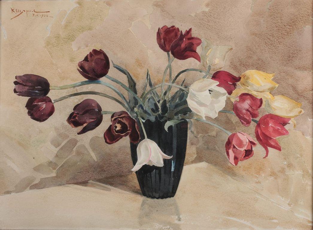 <p>Константин Щъркелов (1889&ndash;1961) Лалета, 1938 акварел върху картон</p>