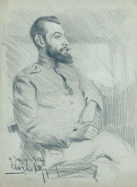 <p>Константин Щъркелов (1889&ndash;1961) Офицер от І Софийска дивизия, с. Питулаци, с. Анка, 1917 молив върху хартия</p>