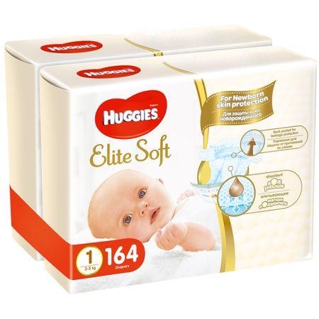 Пелени Huggies Elite Soft 1, 2-5 кг, 164 броя