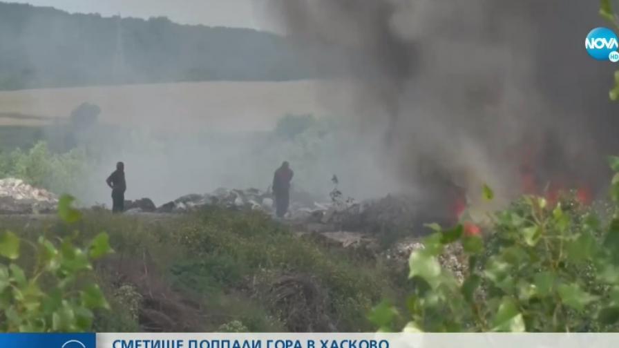 Тлеещо строително сметище предизвика пожар край Хасково