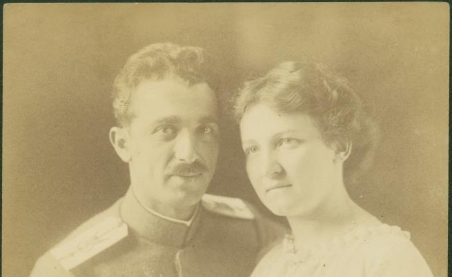 Инж. Иван Иванов с годеницата си Матилда. Мюнхен, Германия, 6 юни 1918 г.