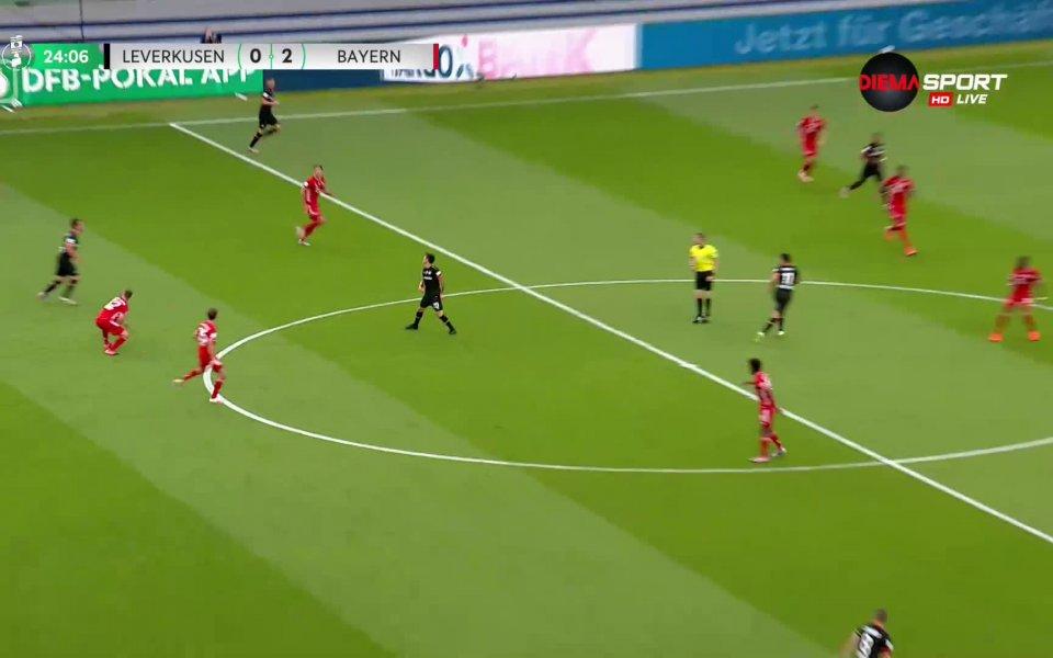 В 24-ата минутаБайерн реализира и второ попадение, Кимих изведе отлично