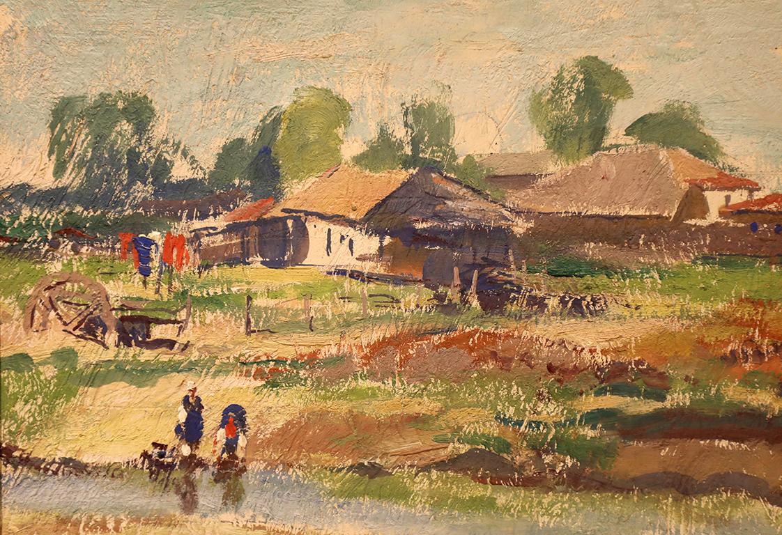 <p>Борис Денев (1883 - 1969)</p>  <p>Край реката, 30-те г. на ХХ в. маслени бои, картон</p>