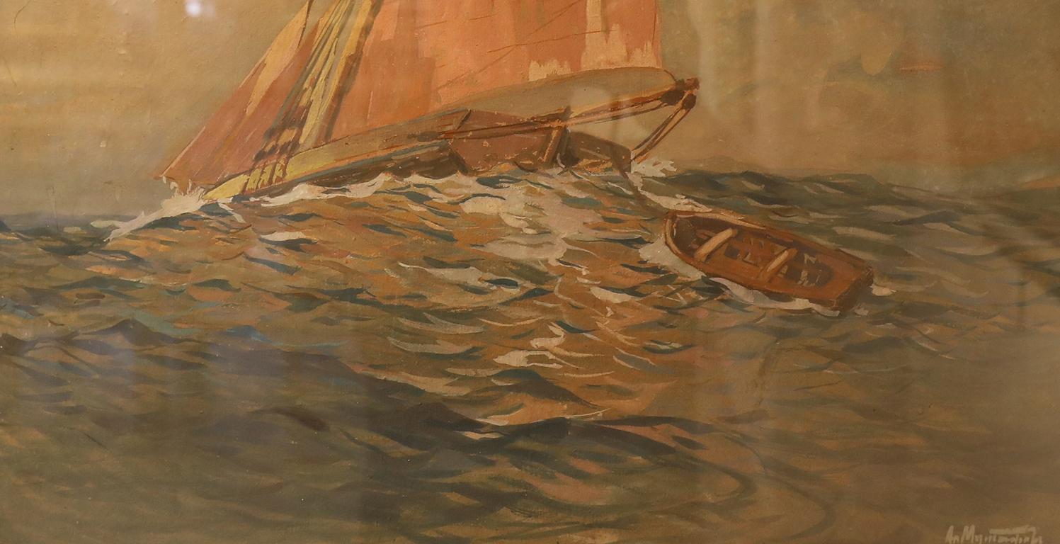 <p>Александър Мутафов (1879 - 1957)</p>  <p>Лодки, 1920 Гваш, хартия</p>