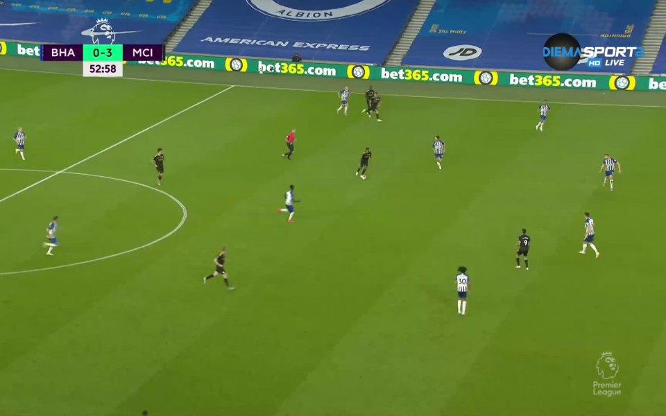 Отборът на Манчестър Сити разгроми като гостБрайтън с 5:0 в