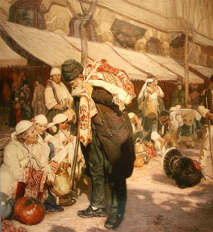 <p>Репродукция на картината &bdquo;Пазар в София&rdquo;, 1899 г. на Антон Митов *Оригиналът е собственост на Софийска градска художествена галерия</p>