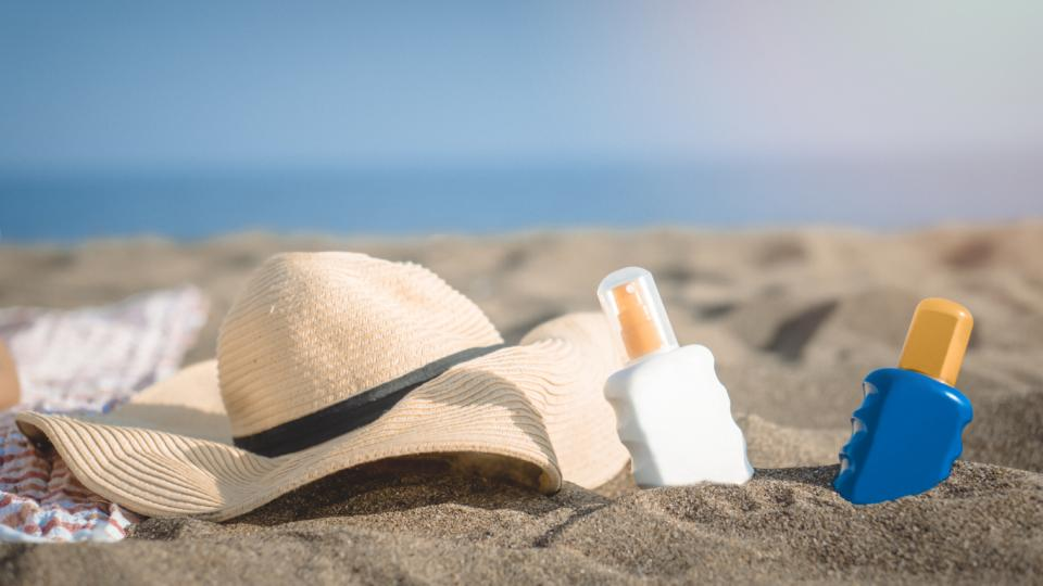 жена плаж планина слънце слънцезащита слънцезащитен крем