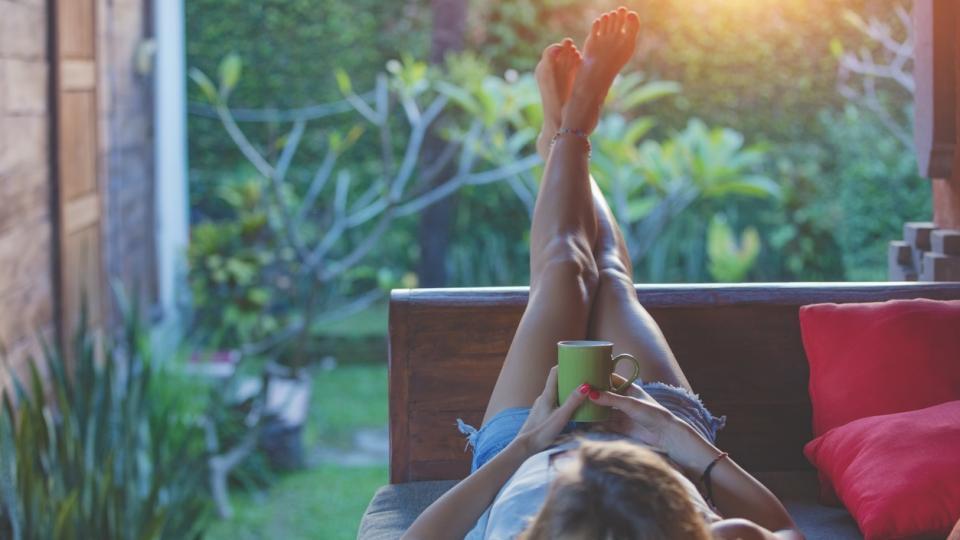 жена лято почивка кафе сутрин