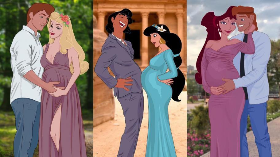 Как биха изглеждали Дисни принцесите и техните половинки в очакване на бебе