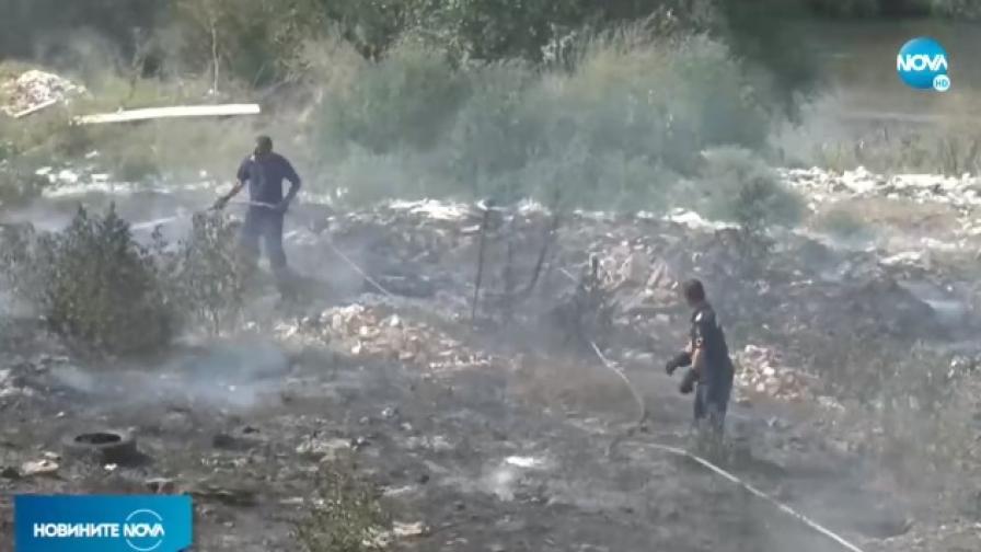 Пожари край Пловдив, гори коритото на река Марица