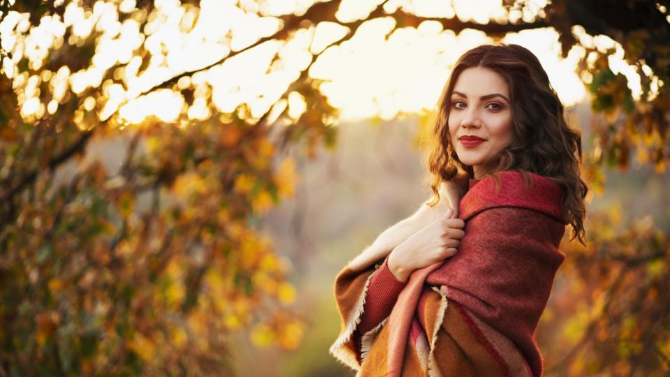 жена природа есен сутрин кафе листа