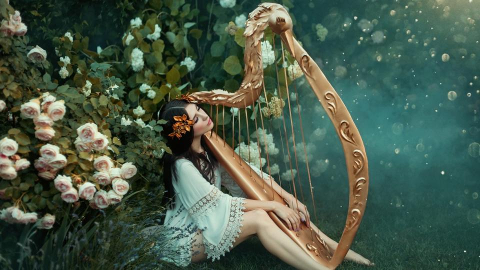 жена красота арфа музика мистично природа