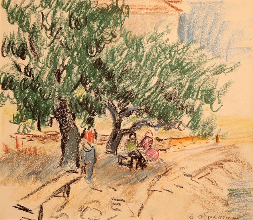 <p>Бенчо Обрешков (1899 &ndash; 1970)</p>  <p>В парка, 50-те г. на ХХ в. пастел, хартия,</p>