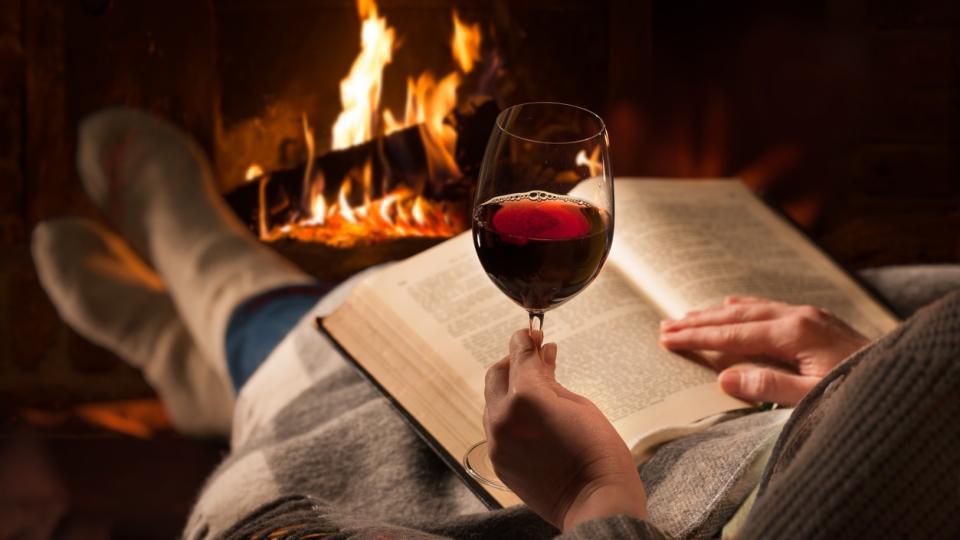 вино камина книга жена зима уют дом