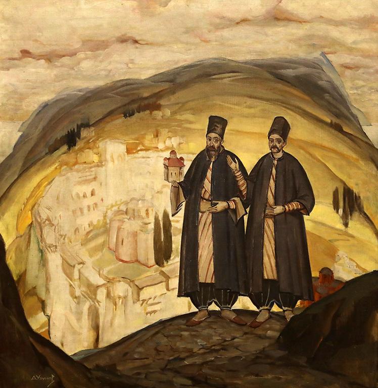 <p>Дечко Узунов (1899-1986), Ктитори, 1927 г. маслени бои, платно</p>