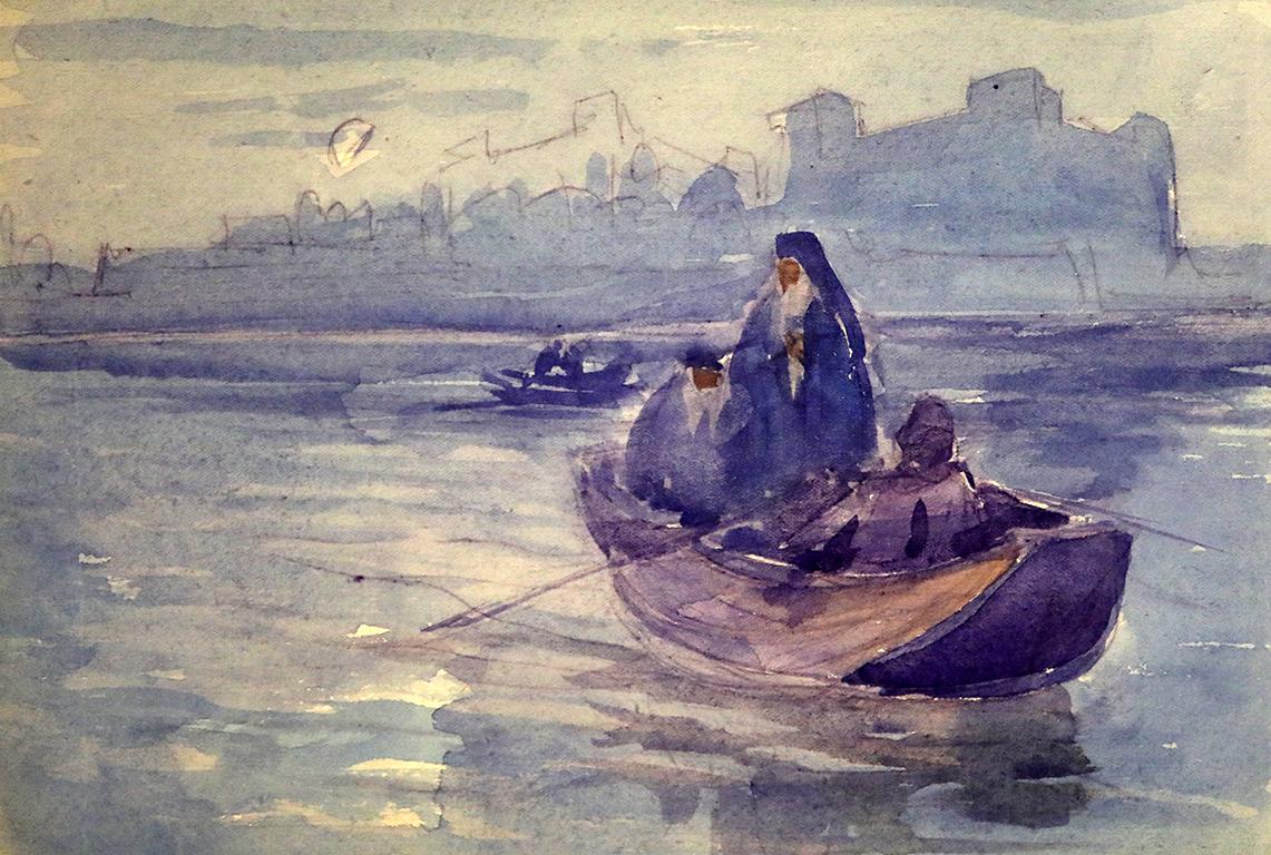 <p>Борис Денев (1883-1969), Трима монаси в лодка., акварел, картон</p>