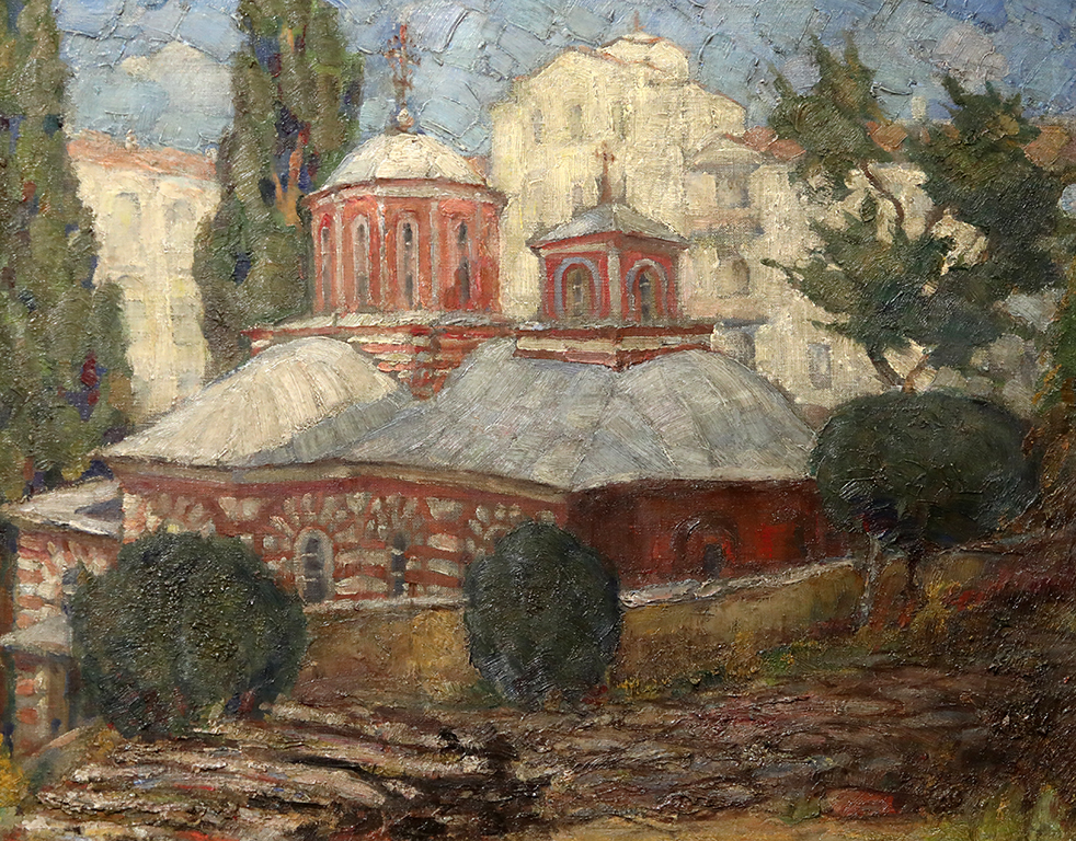 <p>Николай Ростовцев (1898-1988), Църквата на Зографския манастир в Света гора, 1937 г., маслени бои, платно</p>
