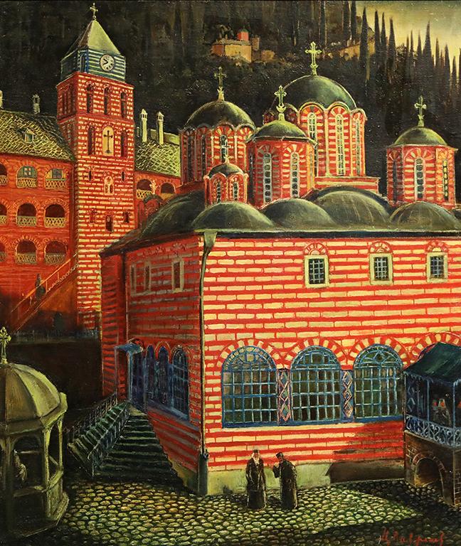 <p>Цанко Лавренов (1896-1978), Църквата на манастира Зограф в Света гора, 1943 г., маслени бои, шперплат</p>
