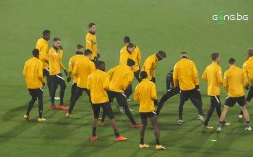 Официална тренировка на Йънг Бойс преди срещата с ЦСКА