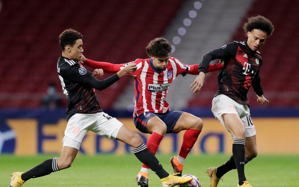 Отборите на Атлетико Мадрид и Байерн Мюнхен играят при резултат