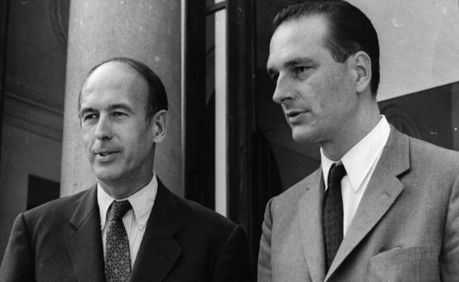"""Президентът Валери Жискар д""""Естен с министър-председателя Жак Ширак"""