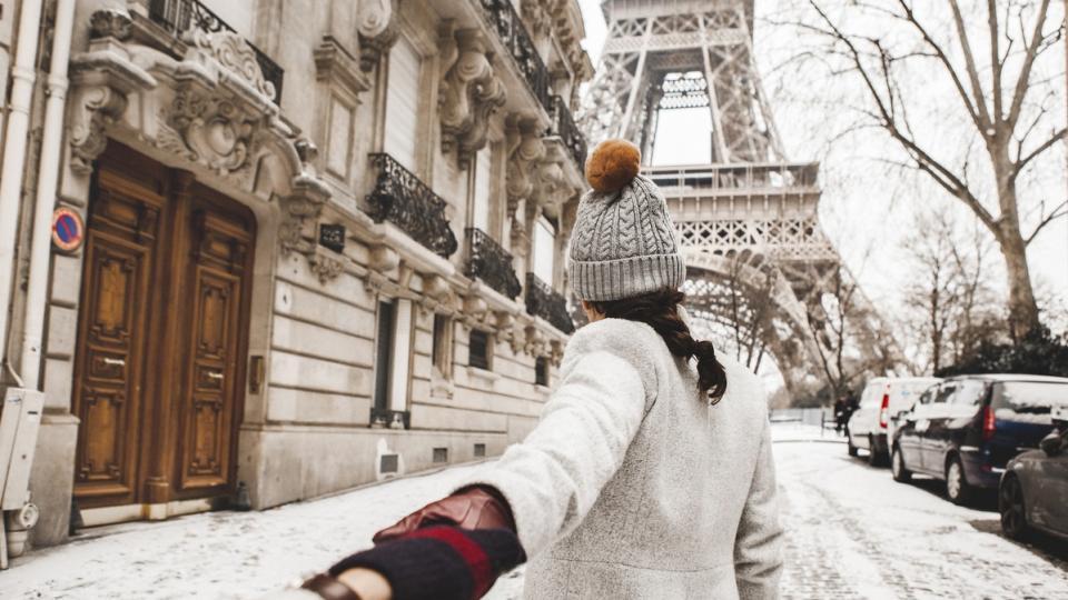 жена зима сняг Париж любов