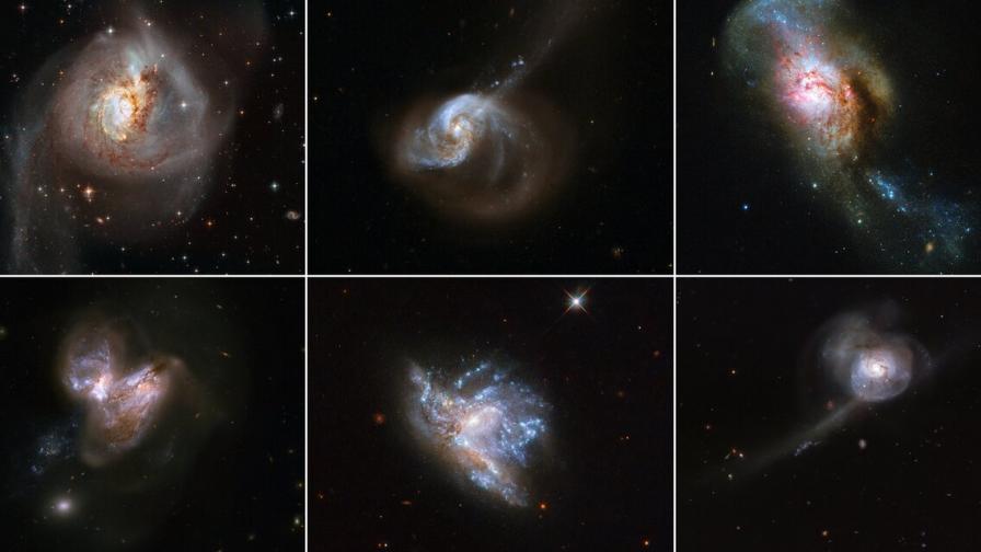 Колаж от шестте сливания на галактики