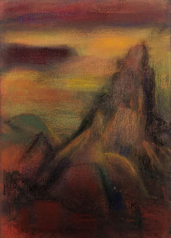 <p>Калина Тасва, Пейзаж със скали, пастел/платно</p>