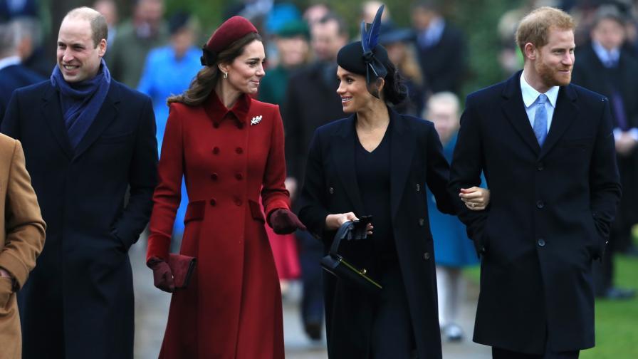 Принц Уилям, херцогиня Катрин, херцогиня Меган и принц Хари