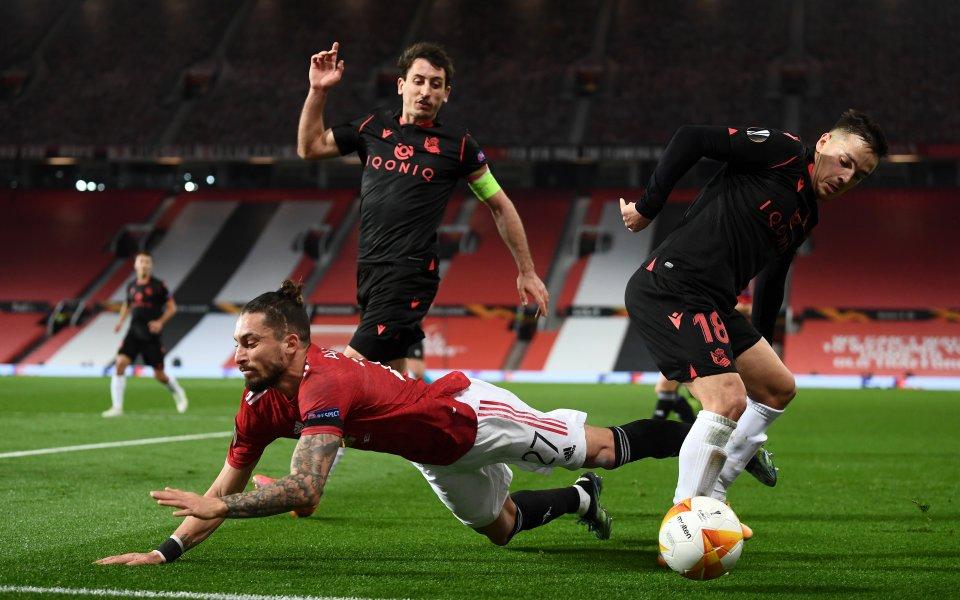 Манчестър Юнайтед иРеал Сосиедад играят при 0:0 в мач-реванш от