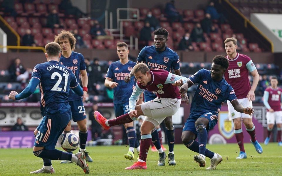 Бърнли и Арсенал завършиха 1:1 в мач от 27-ия кръг