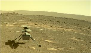 Марсианският хеликоптер сниман от марсохода Perseverance