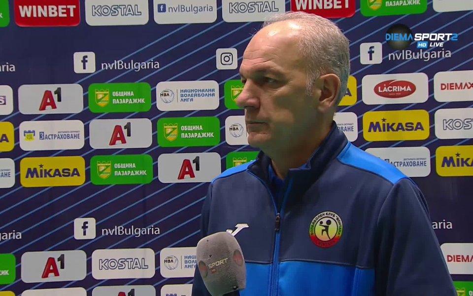 Треньорът на Монтана - Даниел Пеев, коментира загубата от Хебър