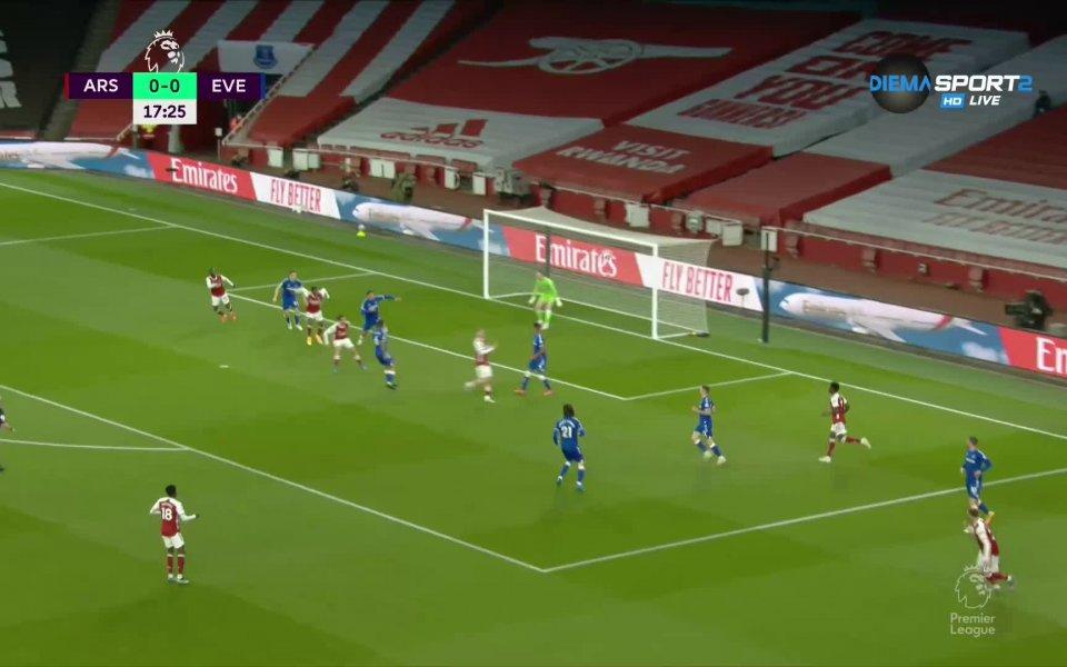 Арсенал иЕвертън играят при резултат 0:0в двубой от 33-ия кръг