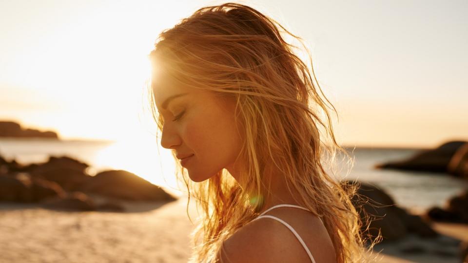 жена лято плаж красота залез слънце