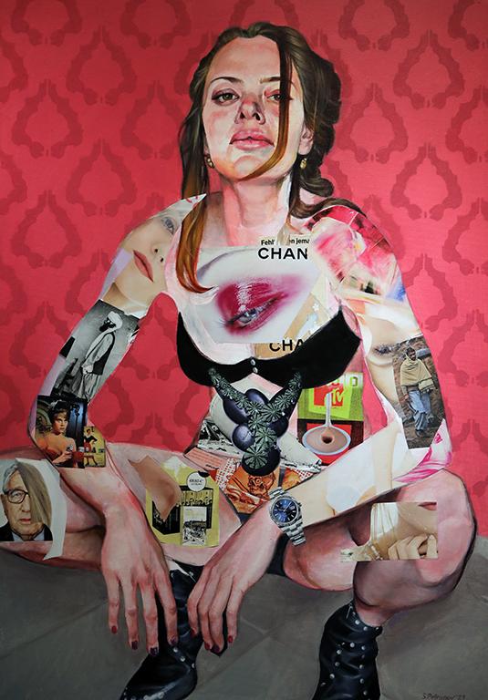 <p>Портрет на Деси - маслени бои, колаж, платно</p>