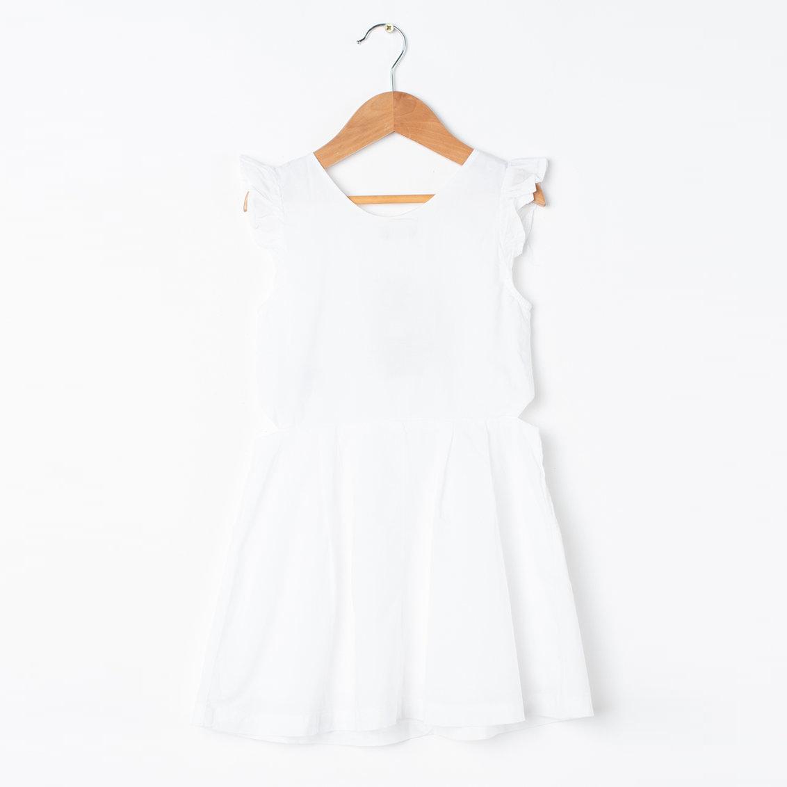 Памучна рокля с набирания, без ръкави