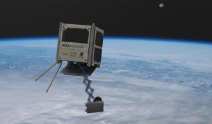 Илюстрация на дървения сателит Woodsat