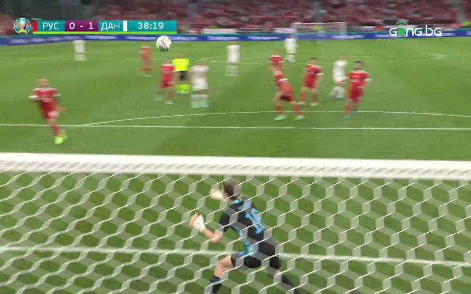 Дания откри резултата в мача с Русия, който е част