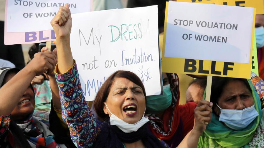 Протестът срещу насилието над жени в Лахор на 21 август