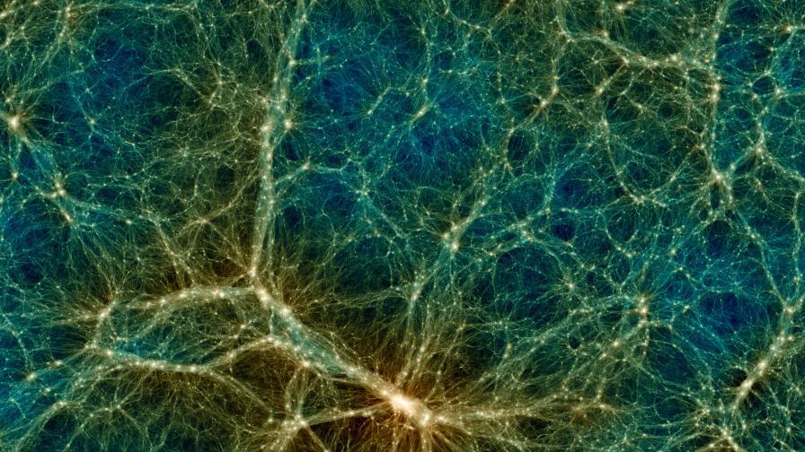 Част от звездите и тъмната материя около най-големия клъстър с галактики