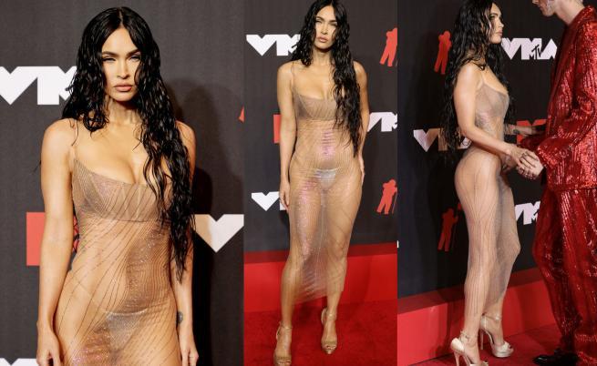 Меган Фокс разгорещи червения килим на MTV с прозрачна рокля