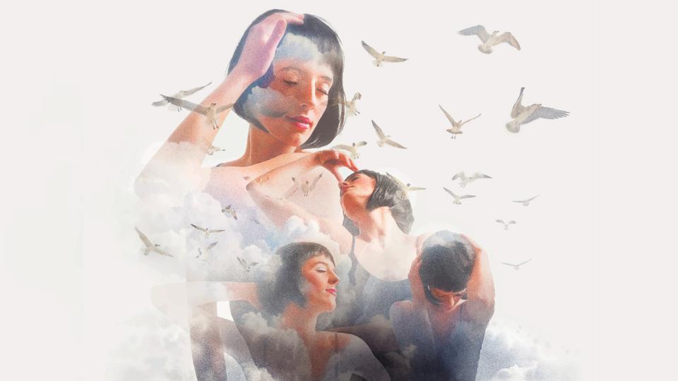 жена мистично небе птици духовно магично мечти